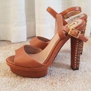 Vince Camuto Studded Leather Heeled Sandal